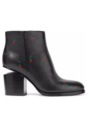 Alexander Wang Woman Gabi Floral-print Textured-leather Ankle Boots Black Size 35
