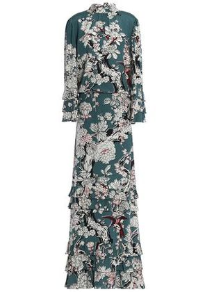 Valentino Woman Ruffled Floral-print Silk Gown Teal Size 42