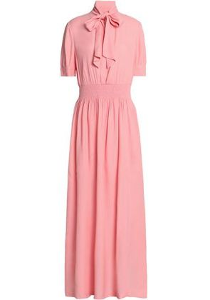 Love Moschino Woman Pussy-bow Shirred Crepe Maxi Dress Pink Size 42
