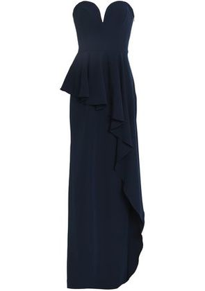 Milly Woman Strapless Layered Ruffled Stretch-crepe Peplum Gown Navy Size 14