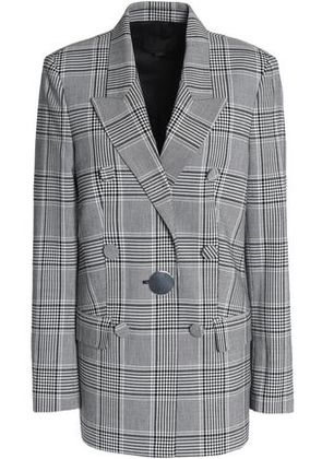 Alexander Wang Woman Double-breasted Prince Of Wales Checked Woven Blazer Gray Size 8