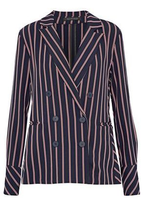 W118 By Walter Baker Woman Kitty Double-breasted Striped Twill Blazer Navy Size XS
