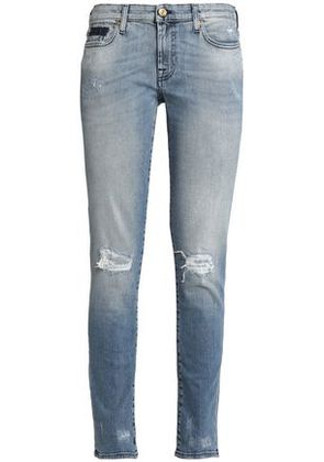 7 For All Mankind Woman Distressed Faded Low-rise Skinny Jeans Mid Denim Size 31