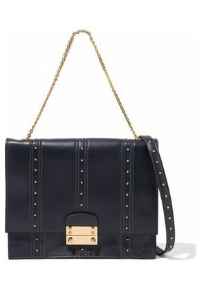 Valentino Woman Studded Leather Shoulder Bag Midnight Blue Size -