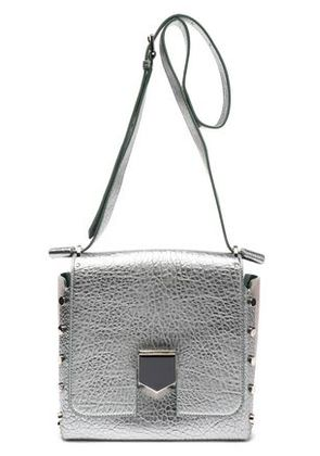 Jimmy Choo Woman Studded Metallic Cracked-leather Shoulder Bag Platinum Size -