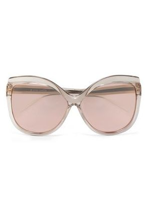 Linda Farrow Woman Cat-eye Acetate Mirrored Sunglasses Rose Gold Size -