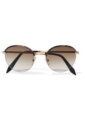 Victoria Beckham Woman Windsor Round-frame Printed Acetate And Gold-tone Sunglasses Black Size -