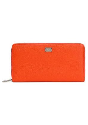 Dolce & Gabbana Woman Textured-leather Wallet Bright Orange Size -