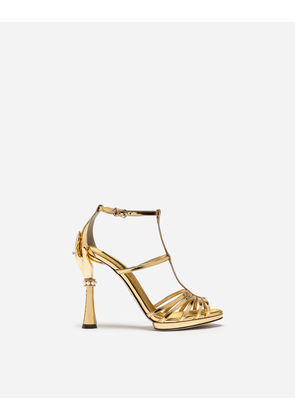 Dolce & Gabbana Sandals and Wedges - SANDAL IN MIRRORED PATENT LEATHER WITH SCULPTED HEEL GOLD