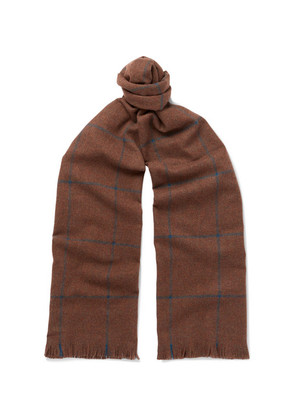 Fringed Checked Wool Scarf