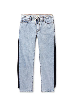 Aries - Twill-trimmed Acid-washed Jeans - Blue