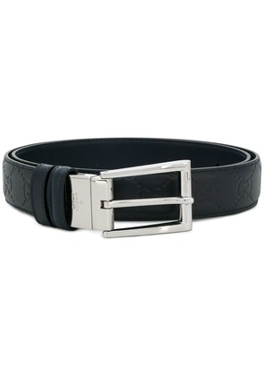 Gucci embossed logo belt - Blue
