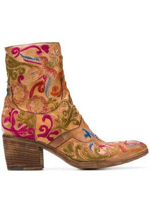 Fauzian Jeunesse embroidered ankle boots - Brown