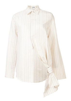 Loewe knot detail striped shirt - White