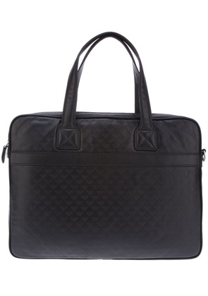 Emporio Armani logo embossed laptop bag - Black