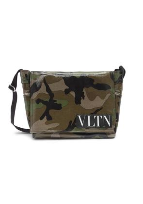 Logo patch camouflage print coated canvas messenger bag
