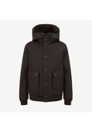 Bally Hooded Patch Pocket Jacket Black, Women's cotton drill jacket in black