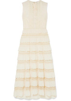 REDValentino - Lace-trimmed Crepe De Chine And Point D'esprit Tulle Maxi Dress - Ivory