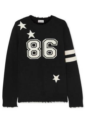 REDValentino - Distressed Intarsia Wool Sweater - Black