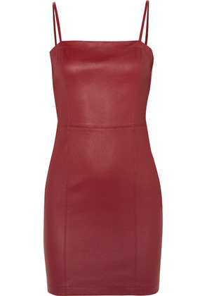 T by Alexander Wang - Leather Mini Dress - Claret