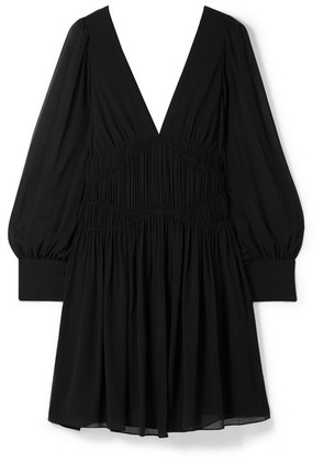 Stella McCartney - Ruched Silk-crepe Mini Dress - Black