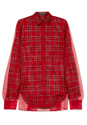 Y/PROJECT - Tartan Twill And Organza Shirt - Red