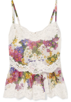 Dolce & Gabbana - Lace-trimmed Floral-print Silk-blend Camisole - White