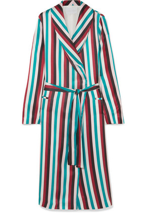 ASCENO - Striped Washed-silk Robe - Turquoise