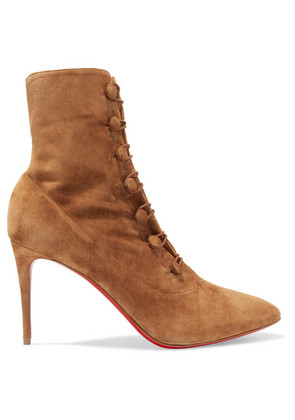 Christian Louboutin - French Tutu 85 Suede Ankle Boots - Tan