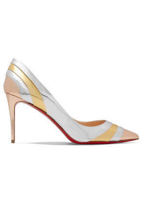 Christian Louboutin - Eklectica 85 Striped Mirrored-leather Pumps - Silver