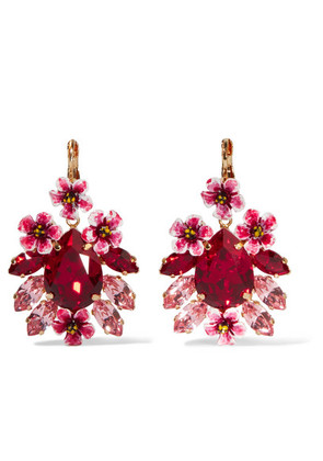 Dolce & Gabbana - Gold-tone, Resin And Crystal Earrings - Red