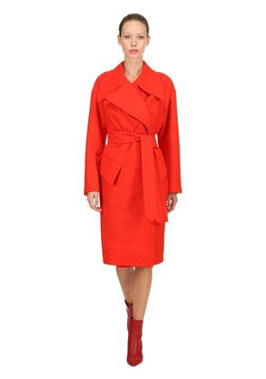 BELTED WOOL CLOTH COAT