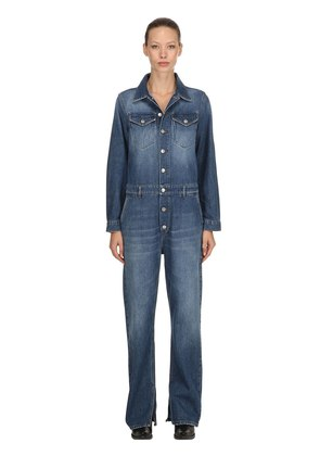 WASHED COTTON DENIM JUMPSUIT