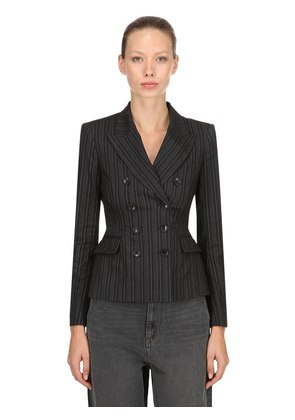 KYLA PINSTRIPE STRETCH WOOL BLEND BLAZER