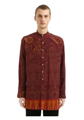 PRINTED SILK & COTTON CAFTAN SHIRT