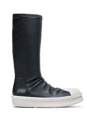 Rick Owens X Adidas Woman Leather Sock Boots Black Size 4.5