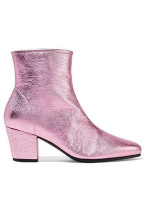 Alexachung Woman Metallic Textured-leather Ankle Boots Pink Size 36