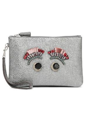 Anya Hindmarch Woman Embellished Metallic Cracked-leather Pouch Metallic Size -