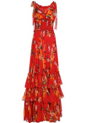 Dolce & Gabbana Woman Tiered Floral-print Silk-chiffon Gown Tomato Red Size 36