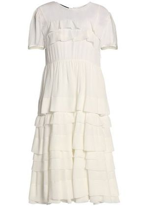 Rochas Woman Tiered Silk-crepe Dress Ivory Size 42