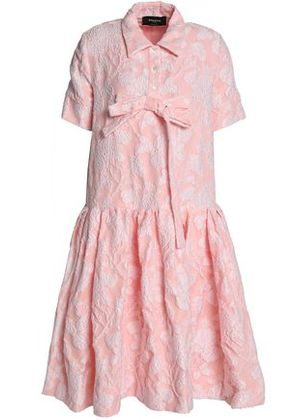 Rochas Woman Bow-embellished Cotton-blend Jacquard Dress Baby Pink Size 40