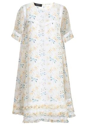 Rochas Woman Lace-trimmed Printed Silk-organza Dress Ivory Size 44
