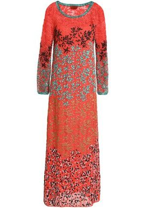 Missoni Woman Embroidered Crochet-knit Maxi Dress Coral Size 42