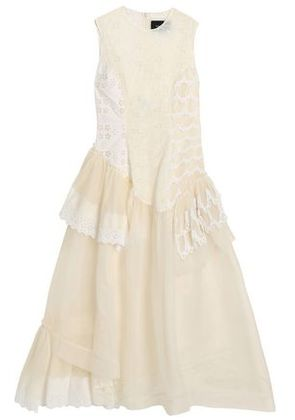 Simone Rocha Woman Ruffled Tulle, Broderie Anglaise And Organza Midi Dress Ivory Size 6