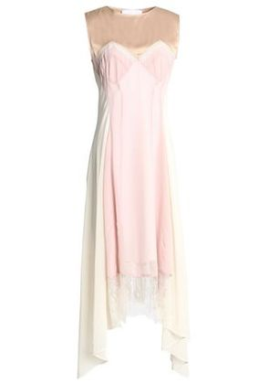 Koché Woman Draped Lace And Satin-trimmed Georgette Dress Baby Pink Size 34