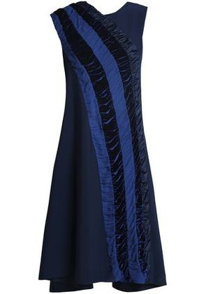 Koché Woman Shirred Velvet And Georgette-trimmed Crepe Dress Navy Size 38