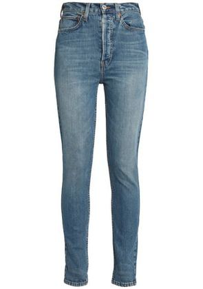 Re/done Woman Faded High-rise Skinny Jeans Dark Denim Size 29