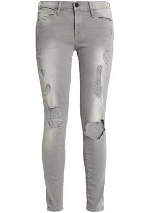 Frame Woman Distressed Low-rise Skinny Jeans Light Gray Size 26