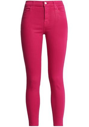 J Brand Woman Coated High-rise Skinny Jeans Magenta Size 26