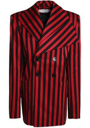 Marques' Almeida Woman Double-breasted Striped Cotton-blend Twill Blazer Red Size XS